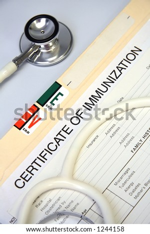 Stethoscope on a patient medical chart series - stock photo