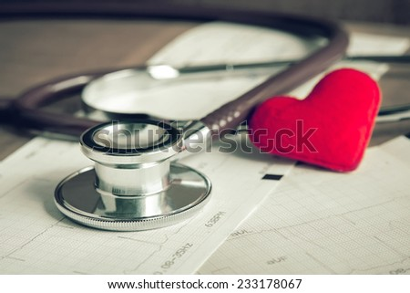 Stethoscope on electrocardiogram paper report  - stock photo