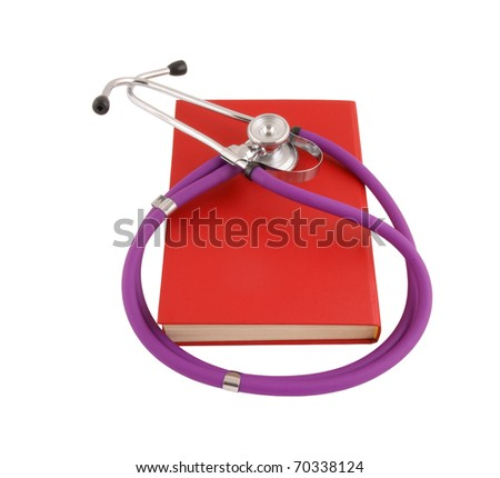 Stethoscope on the red book isolated on white - stock photo