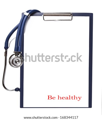 Stethoscope on the tablet with a clean sheet for the text - stock photo