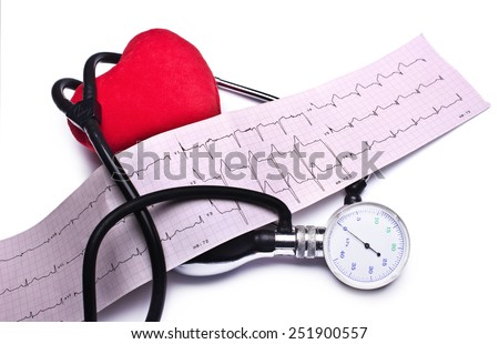 Stethoscope, red heart and hemopiezometer on a white background - stock photo