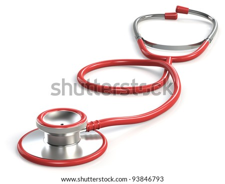 Stethoscope. Red Stethoscope. White Background. - stock photo