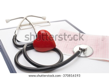 Stethoscope with a red heart on the top of the ECG chart and blank clipboard isolated on white  - stock photo