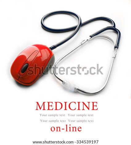 Stethoscope with computer mouse isolated on white. Medical online concept - stock photo