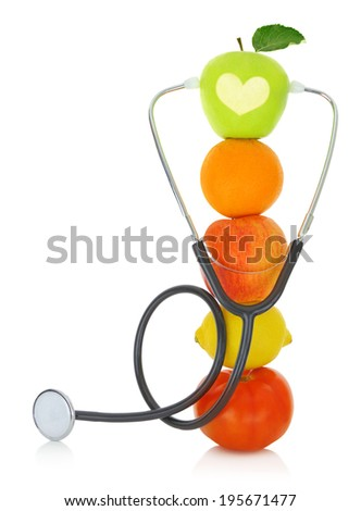 Stethoscope with fresh fruits isolated on white  - stock photo