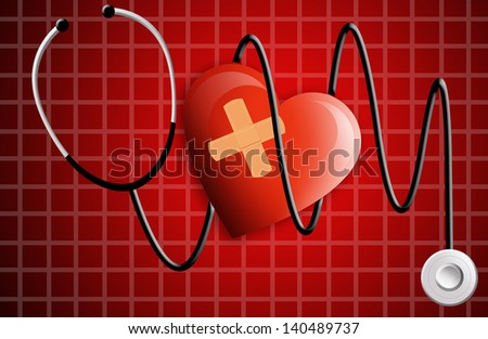 stethoscope with heart for electrocardiogram - stock photo