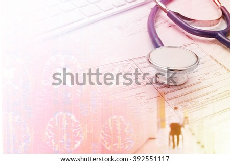 stethoscope with x ray film for medical background - stock photo