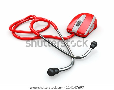 Stethscope and computer mouse. Medical Technologies. 3d - stock photo