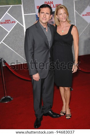 "Steve Carell & wife Nancy Walls at the world premiere of his new movie ""Dan in Real Life"" at the El Capitan Theatre, Hollywood. October 25, 2007  Los Angeles, CA Picture: Paul Smith / Featureflash - stock photo"