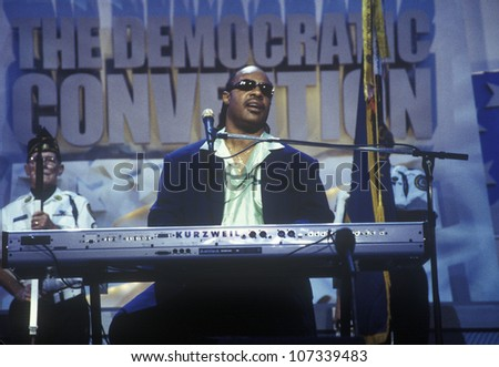 Stevie Wonder performs following Al Gore's nomination speech at the 2000 Democratic Convention at the Staples Center, Los Angeles, CA - stock photo