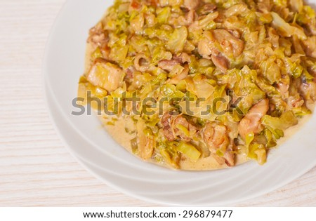 stew cabbage with meat - stock photo
