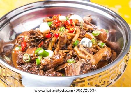 Stewed Chicken with Three Cups Sauce, a popular chinese dish - stock photo