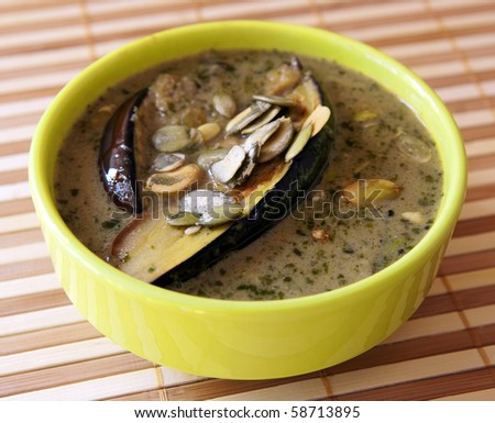 Stewed eggplant dish - stock photo