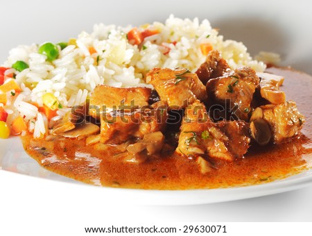 Stewed Meat and Rice with Vegetables - stock photo