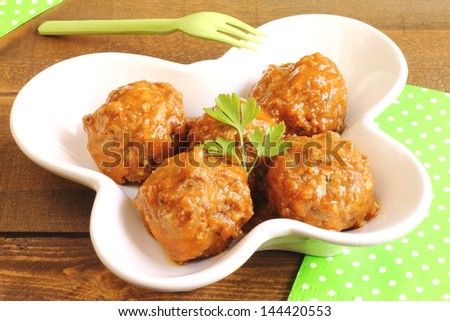 Stewed meatballs - stock photo