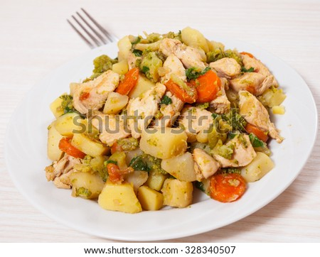 stewed vegetables and meat - stock photo