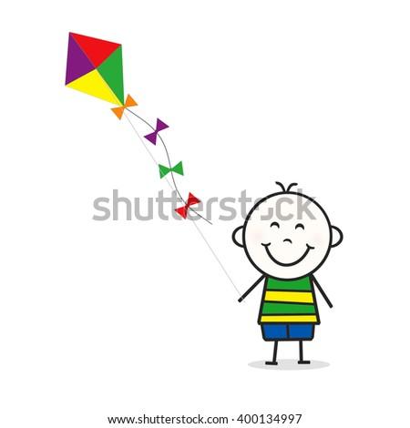 Stick Figure Boy - Kite - stock photo