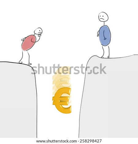 Stick Figure see Euro sign in descent - stock photo