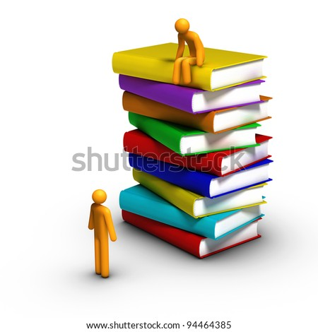 Stick figure sitting on stack of books - stock photo