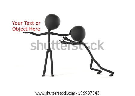 Stick Figure Trying to Grab Something from Another Stick Figure and Being Held from Something - stock photo