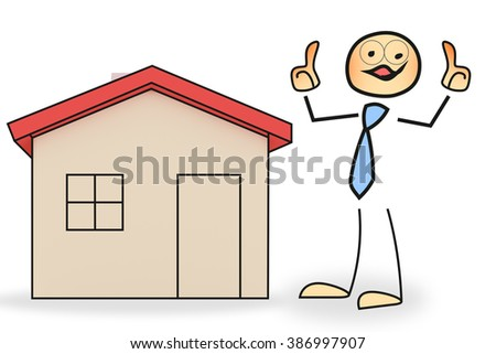 Stick figure with house - stock photo