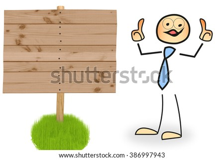 Stick figure with wooden sign - stock photo