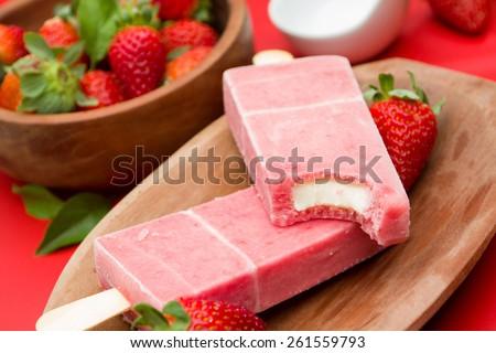 Stick ice cream strawberry flavor - stock photo