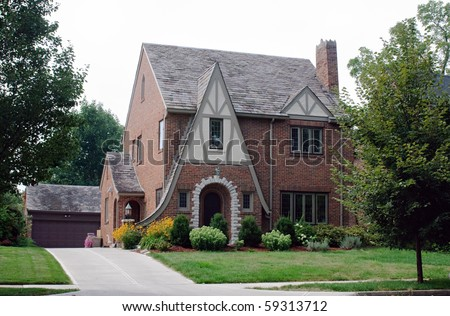 Stick Style Brick House - stock photo
