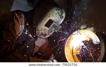 stick welding / 6010 welding - stock photo