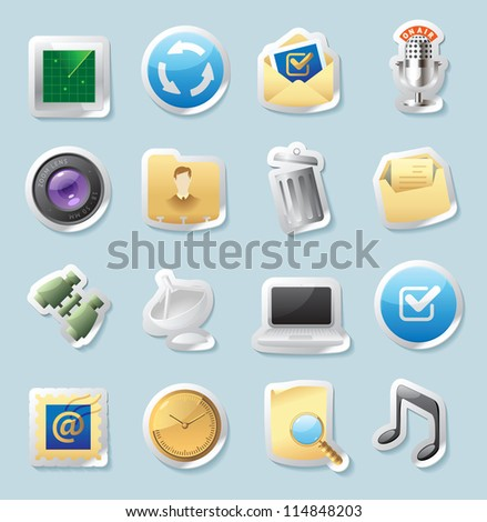 Sticker button set. Icons for signs and interface. Raster version. Vector version is also available. - stock photo