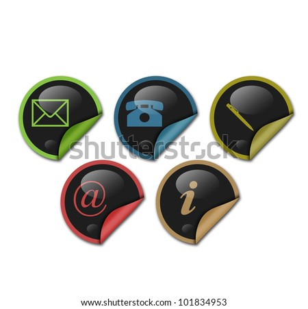 sticker contact signs - stock photo