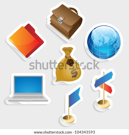 Sticker icon set for business.  Raster version. Vector version is also available. - stock photo