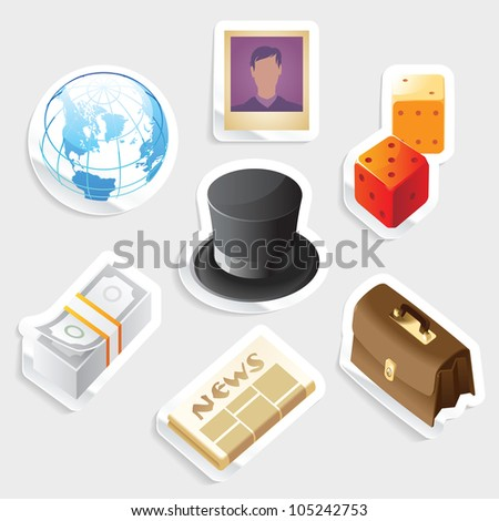 Sticker icon set for global business.  Raster version. Vector version is also available. - stock photo