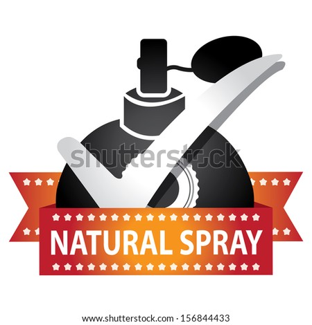Sticker, Label or Badge For Product Information or Product Ingredient Present By Black Glossy Style Natural Spray Perfume Bottle Sign With Check Mark Isolated On White Background  - stock photo