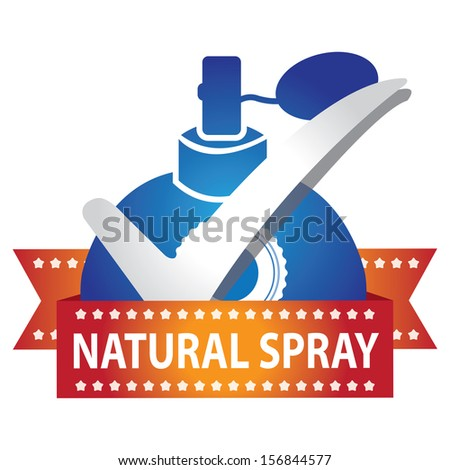Sticker, Label or Badge For Product Information or Product Ingredient Present By Blue Glossy Style Natural Spray Perfume Bottle Sign With Check Mark Isolated On White Background  - stock photo