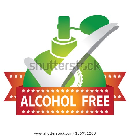 Sticker, Label or Badge For Product Information or Product Ingredient Present By Green Glossy Style Alcohol Free Perfume Spray Bottle Sign With Check Mark Isolated on White Background  - stock photo
