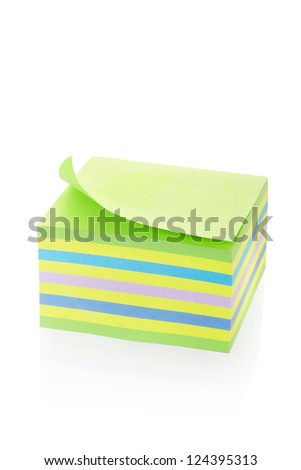 Sticker note block isolated on white, clipping path included - stock photo