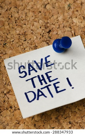 Sticker reminder for save the date concept. - stock photo