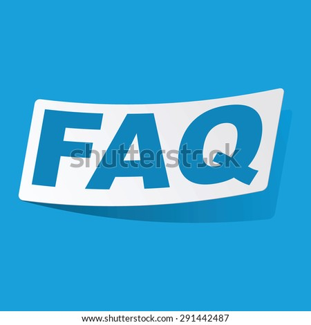 Sticker with text FAQ, isolated on blue - stock photo
