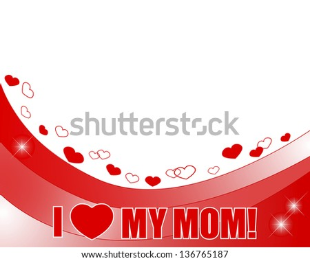 Stickers Mother's Day. Banner with hearts, flowers and butterflies.  Raster version. - stock photo