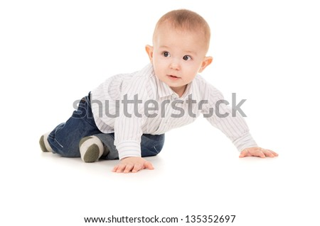 sticking-out ears baby crawling isolated on white background - stock photo