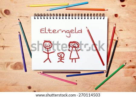 stickman background - drawing block - sample text - german for parents money - stock photo