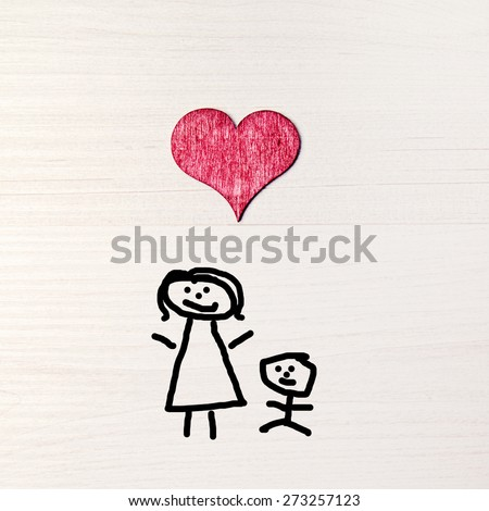 stickman background - greeting card - mothers day - stock photo