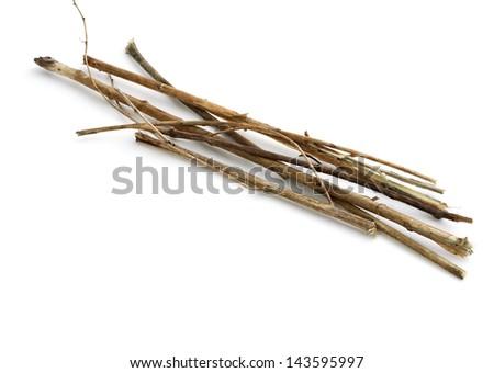 Sticks and twigs, wood bundle isolated on white background - stock photo