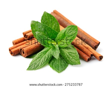 Sticks of cinnamon with mint on a white background - stock photo
