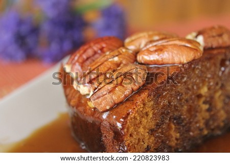 Sticky Date Pudding with Butterscotch Sauce 3 - stock photo
