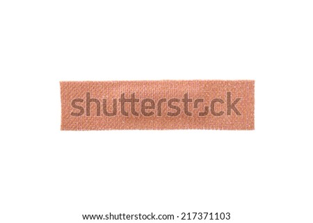 Sticky fabric plaster first-aid equipment isolated on white background. - stock photo