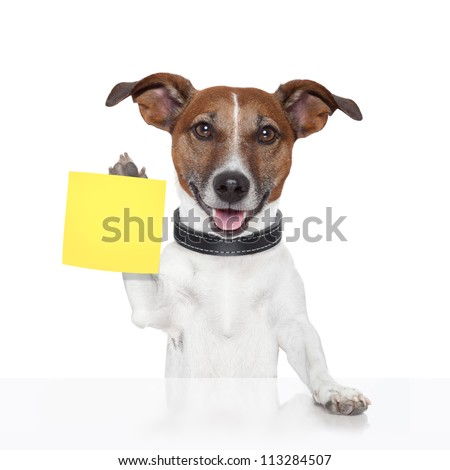 sticky note banner dog yellow - stock photo