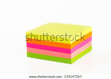 Sticky notes cube isolated on white background - stock photo