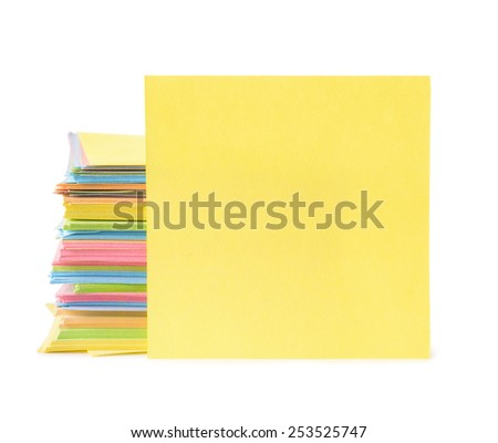 Sticky notes isolated on white - stock photo